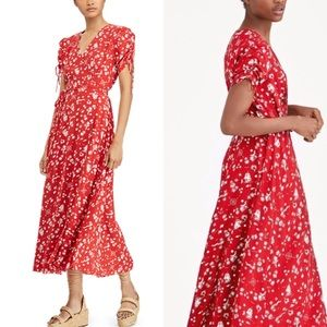 Polo Ralph Lauren red tropical map wrap maxi dress